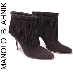 Manolo Blahnik Fringe Ankle Boots
